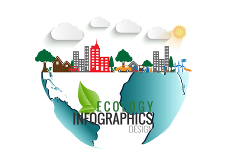 Environment Ecology Infographic  Energy  earth concept on white background. vector illustration.