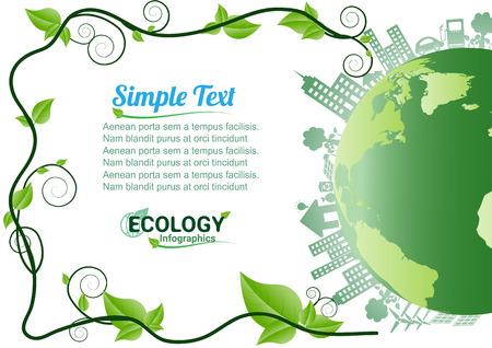 生態環境インフォ グラフィック/エネルギー地球白い背景の概念。ベクトル イラスト。