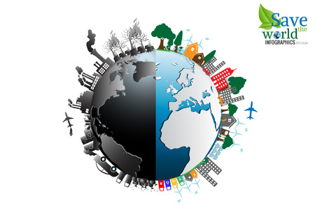 destroying: Vector Infographics design with environment two-side  comparisonside nature global warming Illegal pollution  Destroying Environment and side eco friendly, energy,  environment.