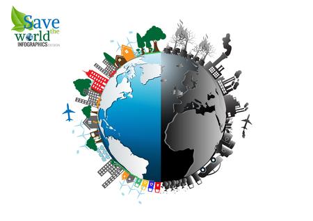 disegno vettoriale Infografica con l'ambiente two-side natura comparisonside riscaldamento globale inquinamento illegale distruzione dell'ambiente e lato eco friendly, energia, ambiente. Vettoriali