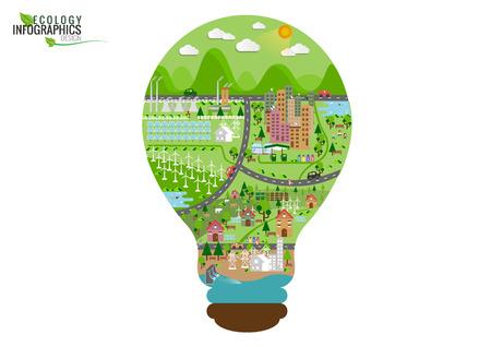 Infografía de la ciudad verde de la ecología y el concepto de usar la energía renovable. Vector ilustraciones planas