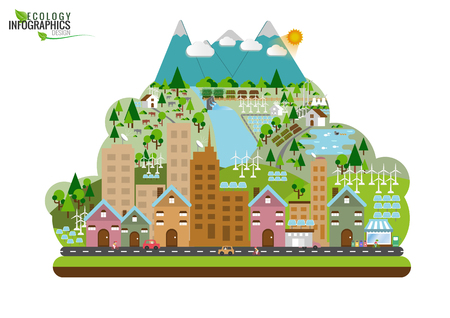 Infographic green ecology city and Renewable energy   friendly concept. flat illustrations Иллюстрация