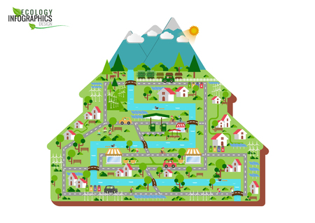 Infographic green ecology city and Renewable energy friendly concept. flat illustrations 向量圖像