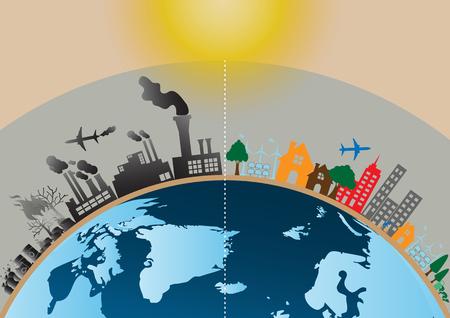 Infographics design met milieu twee-side vergelijking site natuur opwarming van de aarde Illegale verontreiniging vernietigen omgeving met gebroken ozonlaag en aan de zijkant milieuvriendelijk, energie, milieu. Stock Illustratie