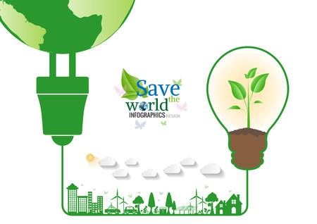 bombillo ahorrador: Energy saving green bulbs concept .save world illustration.