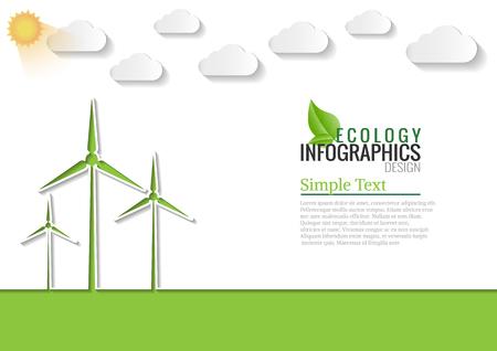 Ecologie verbinding windenergie concept achtergrond. Vector infographic illustratie