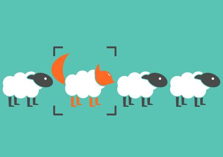 simulacre d'affaires tricherie. Wolf en vêtements de brebis Tromper un troupeau de moutons arrêté concept.