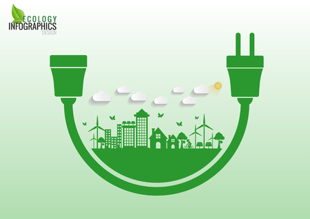 electrical plug: Ecology connection electrical plug concept background . Vector   infographic illustration