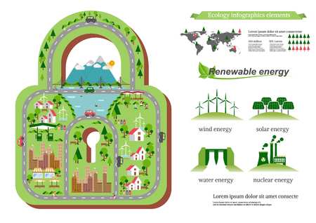 electro world: Infographic green ecology city. Ecology Renewable energy  friendly  concept. Ecology Vector flat illustrations.
