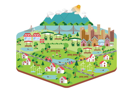 Infographic green ecology city and Renewable energy  friendly concept. flat illustrations Illustration