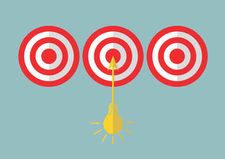 targets: Business concept targets according to  idea. Illustration