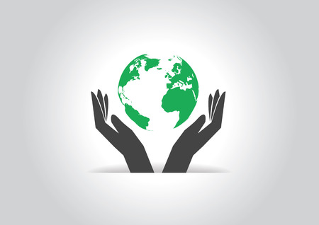 Ecology earth globe in hands icon.