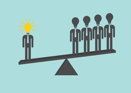 Businessman idea on scales. Illustration