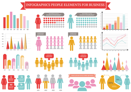 ollection: ollection of infographic people  elements for business.Vector illustration Illustration