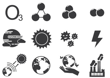 ozone layer: Set of ozone icons Illustration