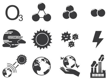 ozone: Set of ozone icons Illustration