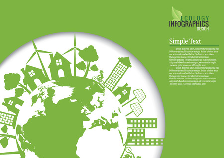 Ecology connection  concept background . Vector infographic illustration Illustration