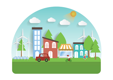 electro world: Infographic green ecology city and Renewable energy  friendly concept. Vector flat illustrations