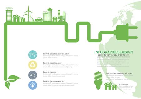 electrical plug: Ecology connection electrical plug concept background . Vector infographic illustration Illustration