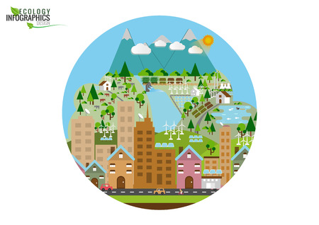 electro world: Infographic green ecology city and Renewable energy friendly concept. Vector  flat illustrations Illustration