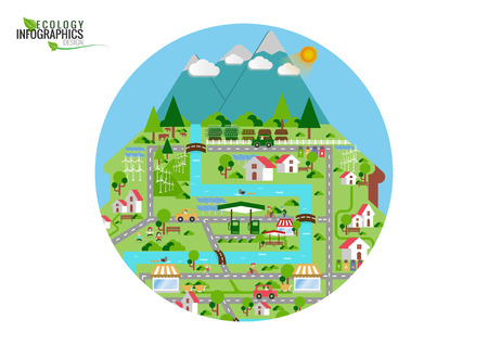 Infographic green ecology city and Renewable energy friendly concept. Vector  flat illustrations Illustration