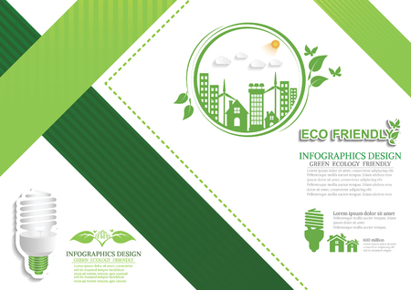 Ecology connection  concept background . Vector infographic illustration 向量圖像