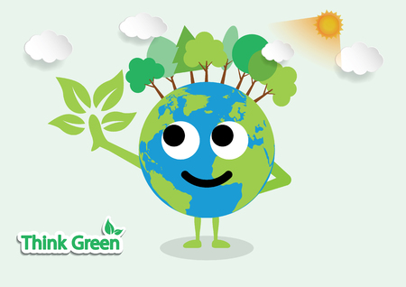 Vector illustration green earth of a cartoon design earth planet globe with environment elements around tree.