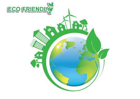 Ecology connection  concept background . Vector infographic illustration Ilustração