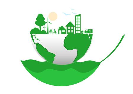 Fond de concept de connexion écologie. Illustration infographique vectorielle