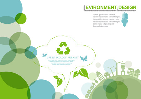 Ecology connection  concept background . Vector infographic illustration Stock Illustratie