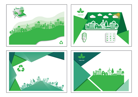Ecology connection  concept background . Business Cards  Vector infographic illustration