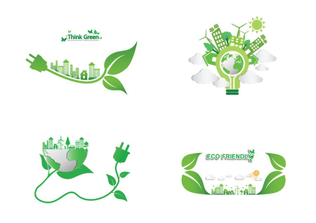 Ecology connection  concept background  Vector infographic illustration Иллюстрация