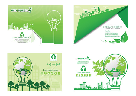 Ecology concept on earth ,Eco World environment and development concept background , infographics website design , Vector illustration