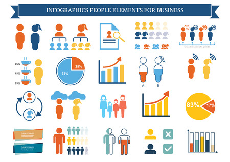 Collection of infographic people  elements for business.Vector illustration Иллюстрация