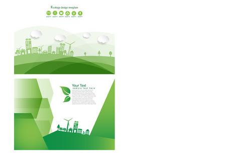 Modèle de conception de brochure de concept d'énergie écologique. Illustration vectorielle d'infographie Vecteurs