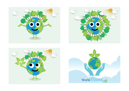 Green earth of a cartoon design earth planet globe with environment elements around tree.Vector illustration