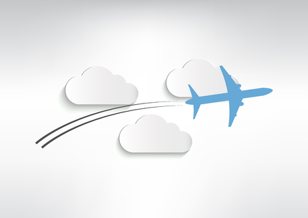 Plane with clouds vector illustration Иллюстрация