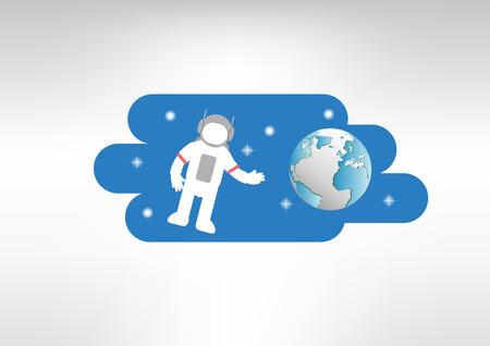 world with astronauts vector illustration Ilustrace
