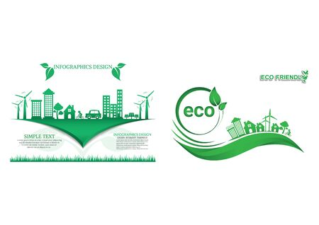 Ecology connection electrical plug concept background . Vector infographic illustration Иллюстрация