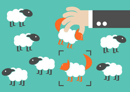 Business sham cheating. Wolf in sheep clothes fooling a sheep flock  arrested  concept.