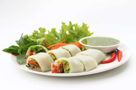 chili's restaurant: Wrapped noodle with vegetables and meat served with sour and spicy sauce
