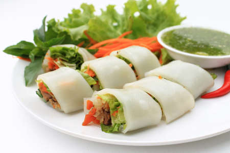 wrapped up: Wrapped noodle with vegetables and meat served with sour and spicy sauce