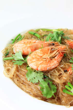 Glass noodles steamed with delicious prawns photo