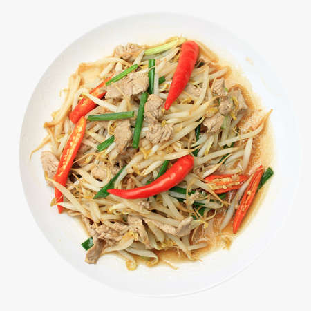 Stir-fried bean sprouts with porks Stock Photo - 14488852