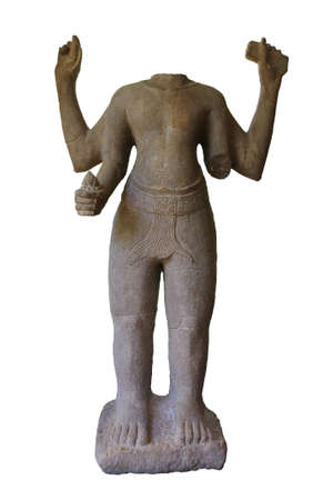 Replica of ancient Buddha statue stading in the thai museum at Kanchanaburi province, Thailand