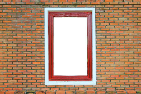 Red wood window frame on the old brick walls in historic place