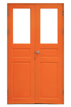 Orange wooden door over the white background