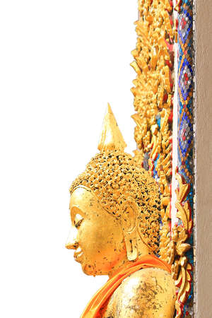 Side view of the ancient golden buddha face at a temple in Nakhon Pathom Province of Thailand