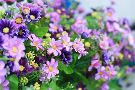 Close-up of the artificial colorful flowers for room decorations Stock Photo