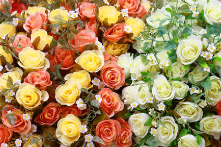 Colorful bouquet of artificial rose flowers for background or greeting card Stock Photo